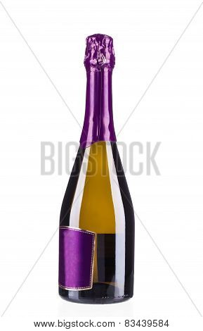 Bottle of champagne with violet top.