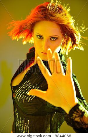 Beauty Portrait Of Pretty Woman With Short Fashion Bob Hairstyle. Light Effects