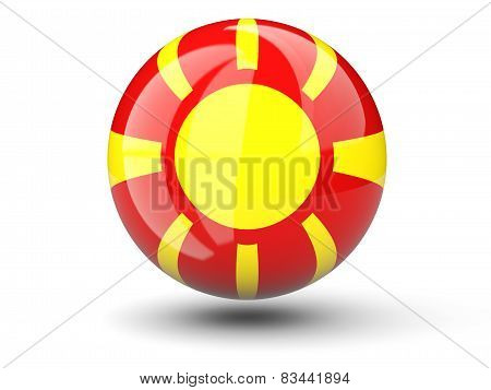 Round Icon Of Flag Of Macedonia