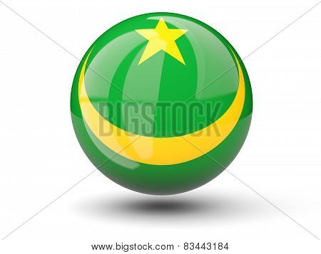 Round Icon Of Flag Of Mauritania