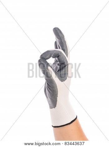 Rubber protective gray glove