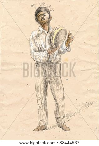 Tambourine Player - Vector Illustration (converted)