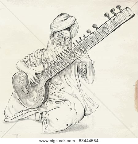 Tanpura Player - Vector Illustration (converted)