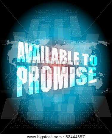 Available To Promise Words On Digital Screen