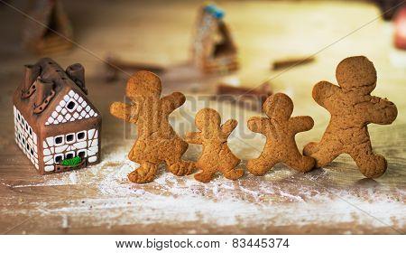 gingerbread men on the wooden floor