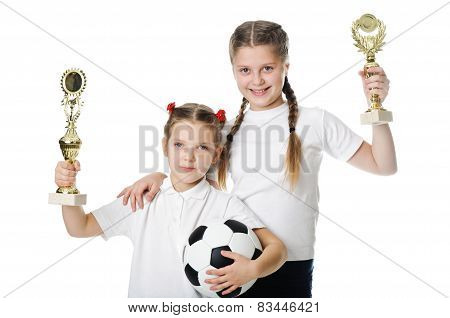 Little Girls Holding Football Ball