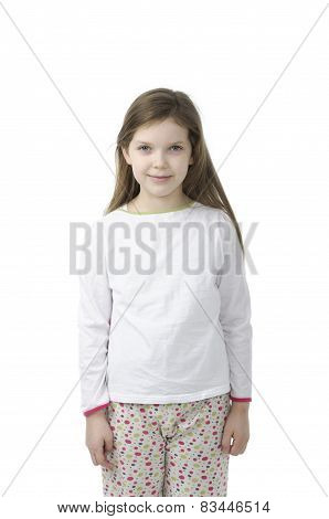 Little Girl In Nightwear On White