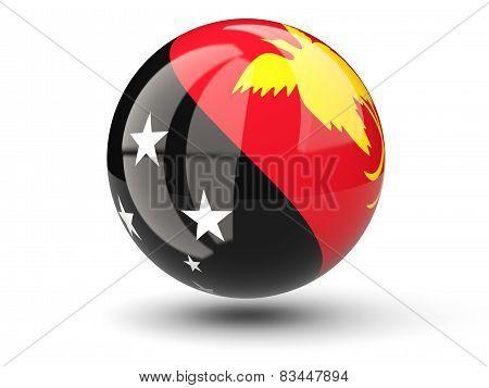 Round Icon Of Flag Of Papua New Uinea