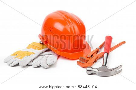 Red helmet and working tools.