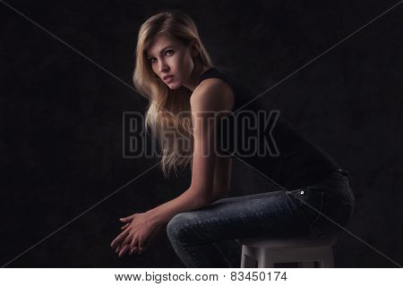 portrait of young sexy girl with blode long hair