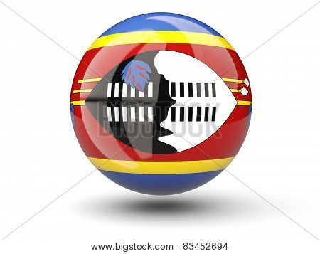 Round Icon Of Flag Of Swaziland