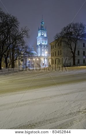 Beautiful Winter Cityscape At The Night - Assumption Church In Lvov