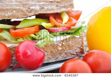 Diet Brown Baguette With Vegetable