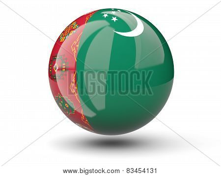 Round Icon Of Flag Of Turkmenistan