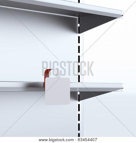 Shelf with blank wobbler