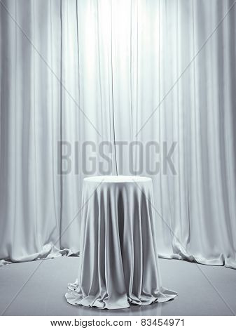 Table covered with white cloth