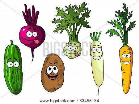 Cartoon fresh funny vegetables