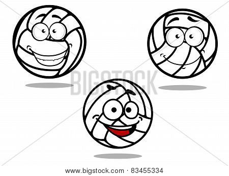 Cartoon volleyball balls on white