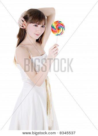 helles Bild glücklich Blondine mit Farbe lollipop