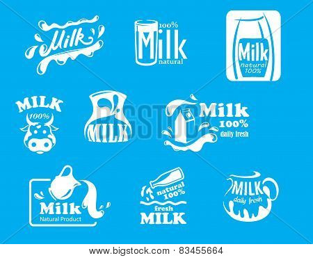 Blue and white milk symbols, icons or logos