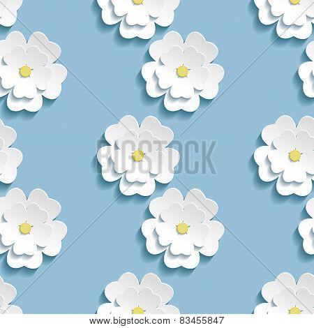 Modern Background Seamless Pattern With 3D White Sakura