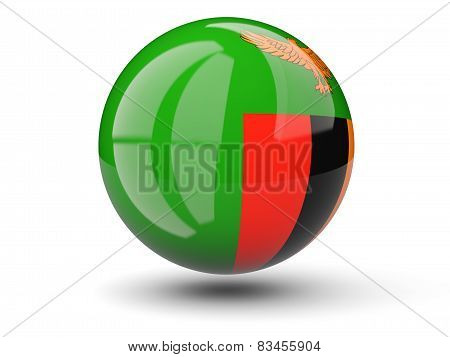 Round Icon Of Flag Of Zambia