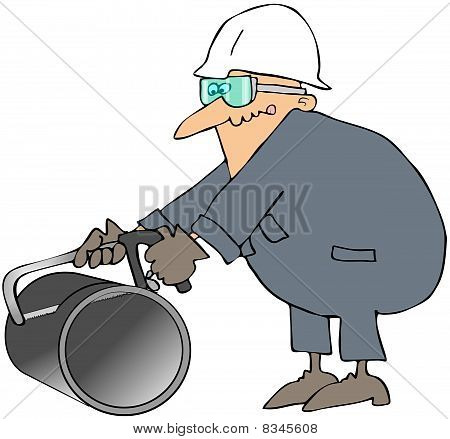 Worker Using A Hacksaw On A Large Pipe
