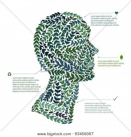 Green leaf portrait man head symbol. Vector file available.