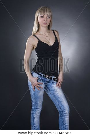 Backlight Picture Of Lovely Woman Over Black Background