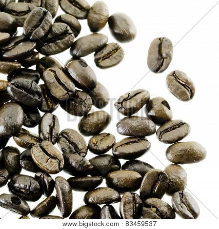Coffee Beans Spilling Around Isolated On