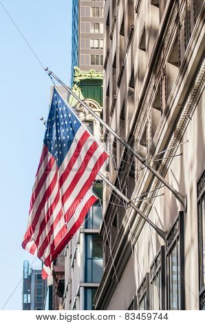 American Flag On A Historic Building
