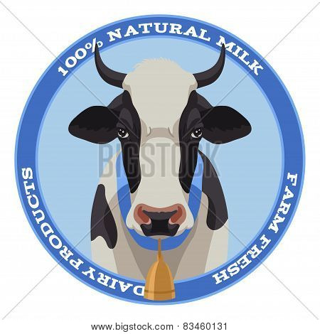 Cow label, blue style