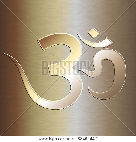 Vector abstract golden background with om mantra