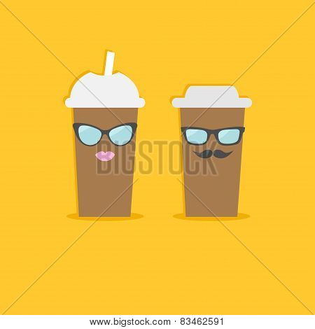 Two Disposable Coffee Paper Cups With Sunglasses Mustache And Lips . Flat Design