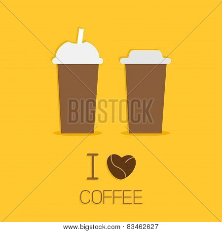 Two Disposable Coffee Paper Cups Icon. I Love Coffe Heart Sead. Flat Design