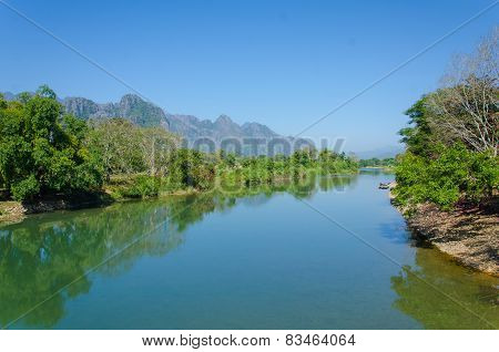 Serene Landscape By The Nam Song River At Vang Vieng, Laos