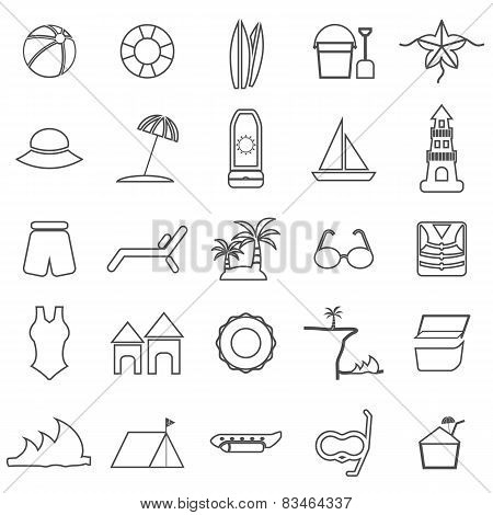 Beach Line Icons On White Background