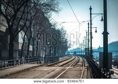 Tram track in Budapest