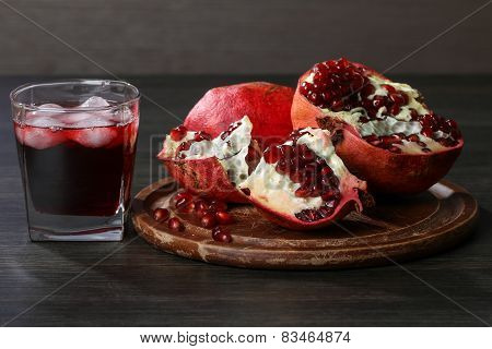 Pomegranate Juice And Red Pomegranate Fruit