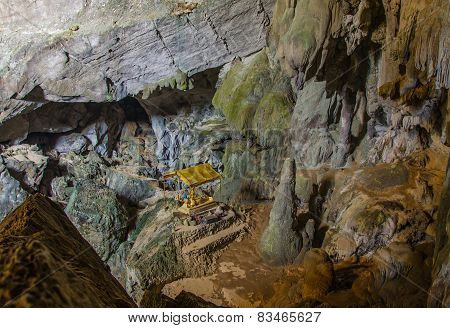 Underground Cave In Laos, With Stalagmites And Stalactites