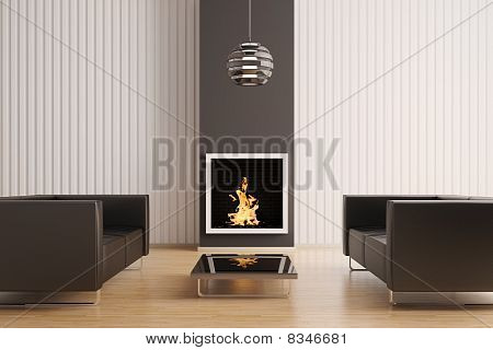 Interior With Fireplace 3D