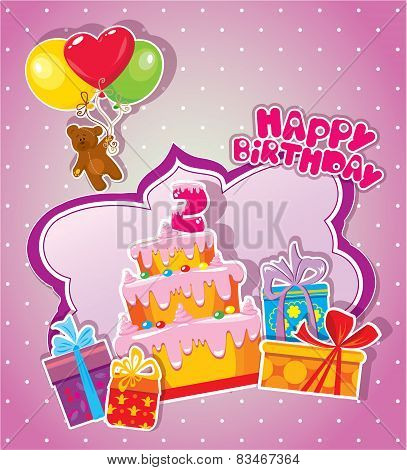 Baby Birthday Card With Teddy Bear, Big Cake And Gift Boxes. Two Years Anniversary