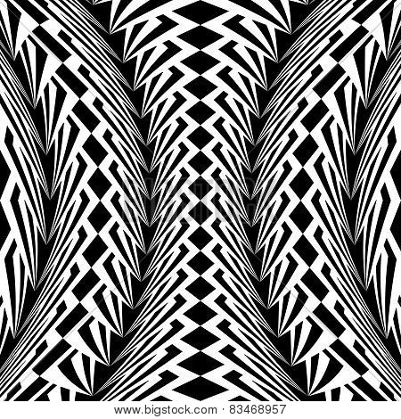 Design Warped Monochrome Vertical Geometric Pattern