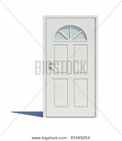 Closed white door with shadow