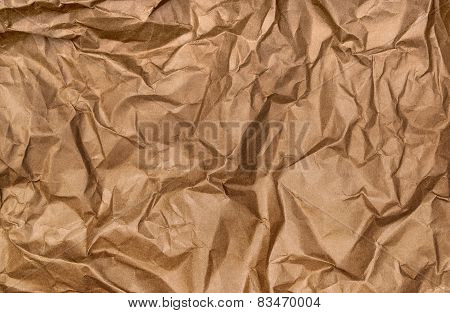 Background Of Crumpled Kraft Paper