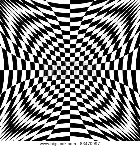 Design Monochrome Illusion Checkered Background