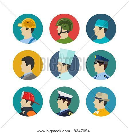Set of profession icons