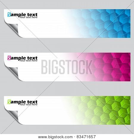 Banner Set With Peeled Corners