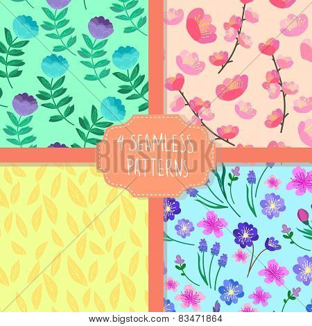 Hand-drawn Vector Illustration. Patterns Set. Cherry Blossom Seamless Flowers Pattern, Abstract Foli