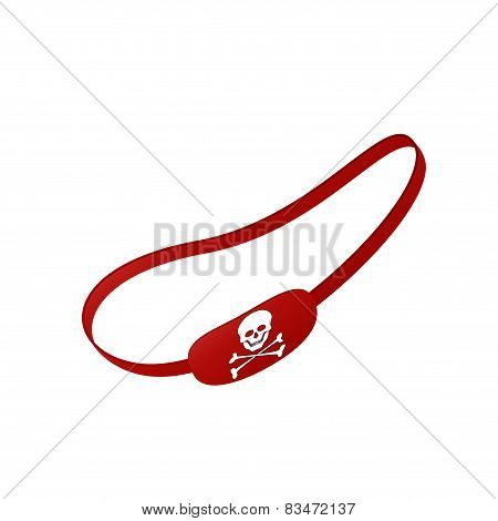 Red eye patch with skull symbol